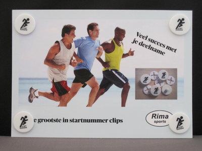 Standard set of 4 startnumber clips on a standard card