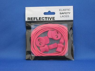 Elastische reflecterende veters roze